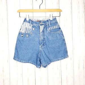 Vintage YoYo High Waisted Grommet Striped Shorts 1